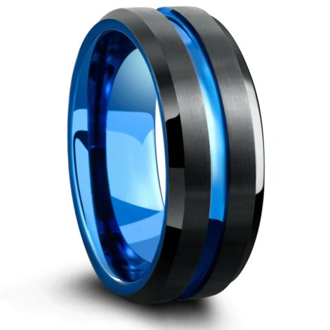 The Atlantic Blue Amp Silver Ring With Blue Carved Center