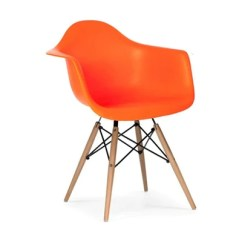 Orange Bucket Chair Black Leather Tufted Plata Import Kids At Home