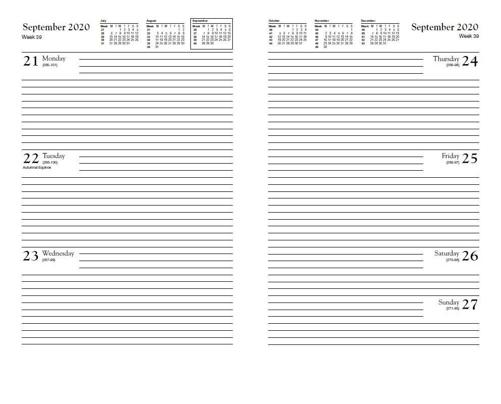 YEAR 2020 NA53 CODE C Calendar Diary  A5 Week to View