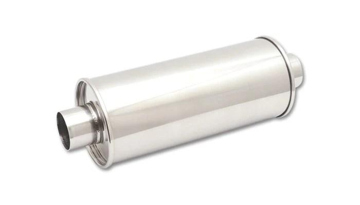 vibrant streetpower universal muffler 2 50 inlet outlet center center 304 stainless 1118