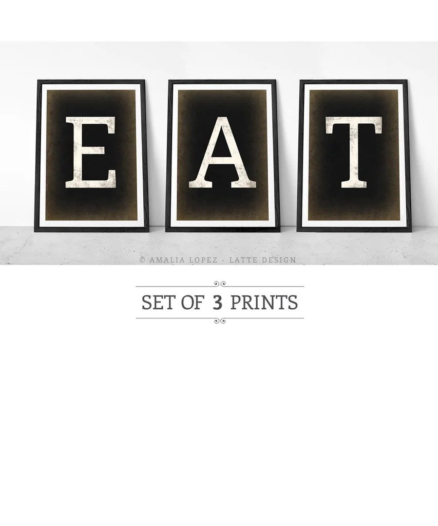 kitchen prints banquette bench eat set of 3 black and white