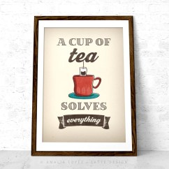 Kitchen Prints Backsplash Gallery A Cup Of Tea Solves Everything Cream Print Latte Design