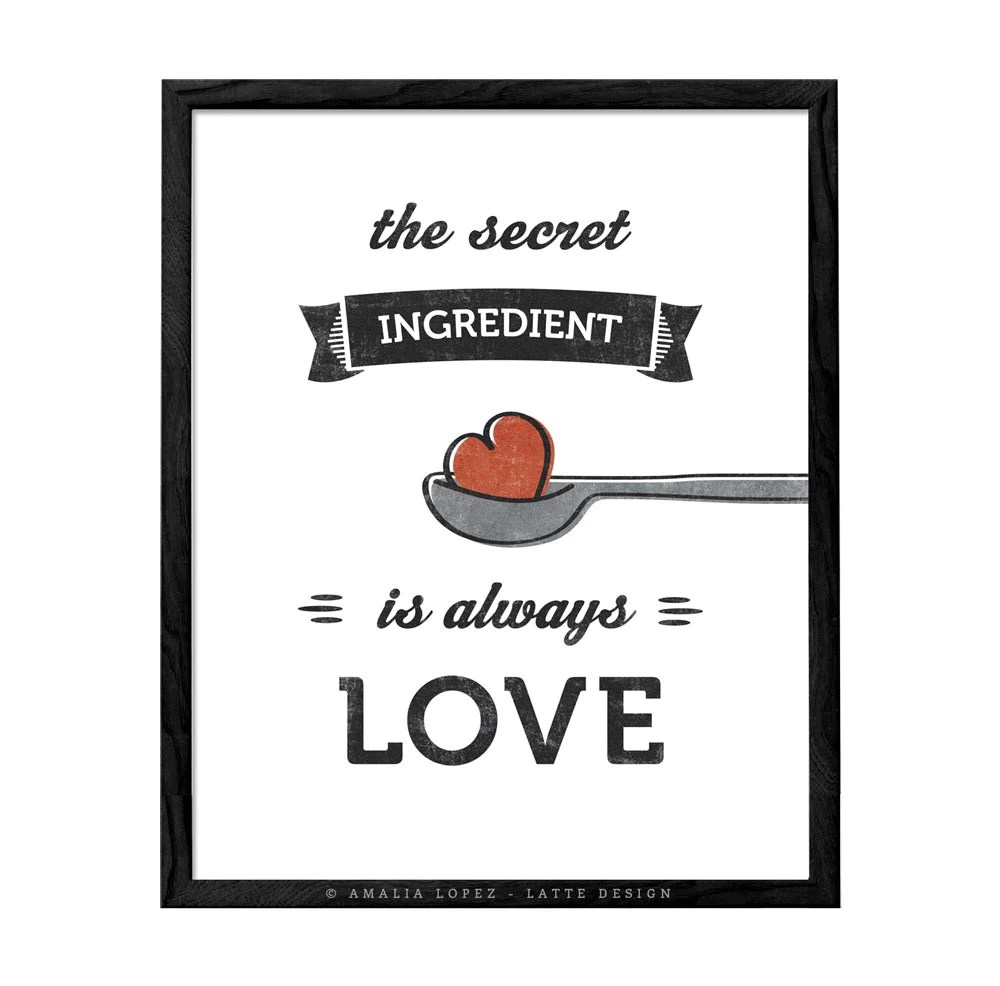 kitchen prints islands with seating the secret ingredient is always love cream print ld10016 latte design