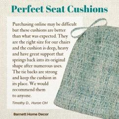 Chair Cushions With Tie Backs Large Beanbag Brisbane Boucle Sea Glass Dining Pad Latex Foam Fill Customer Testimonial