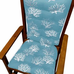 Indoor Rocking Chair Cushion Sets All Weather Adirondack Chairs Coastal Coral Aqua Cushions Latex Foam Fill Made In Barnett Home Decor