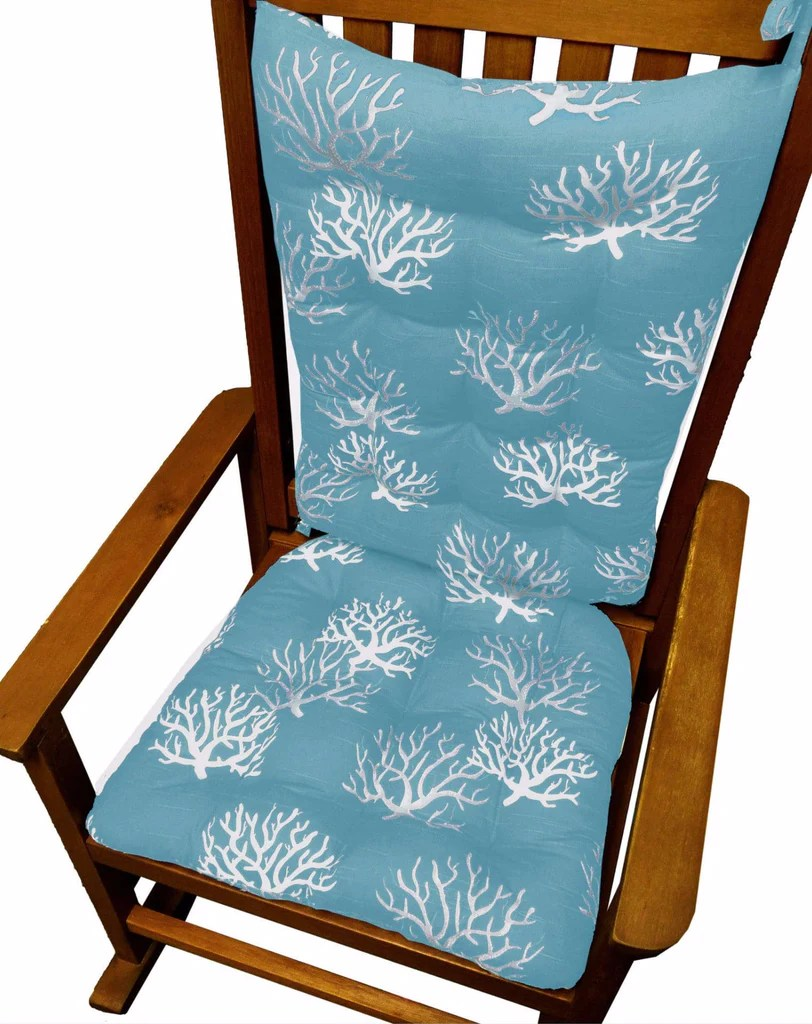 indoor rocking chair cushions garden covers homebase coastal coral aqua latex foam fill made in barnett home decor