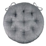 Rave Graphite Grey Bistro Chair Pad 16 Round Cushion With Ties In Barnett Home Decor