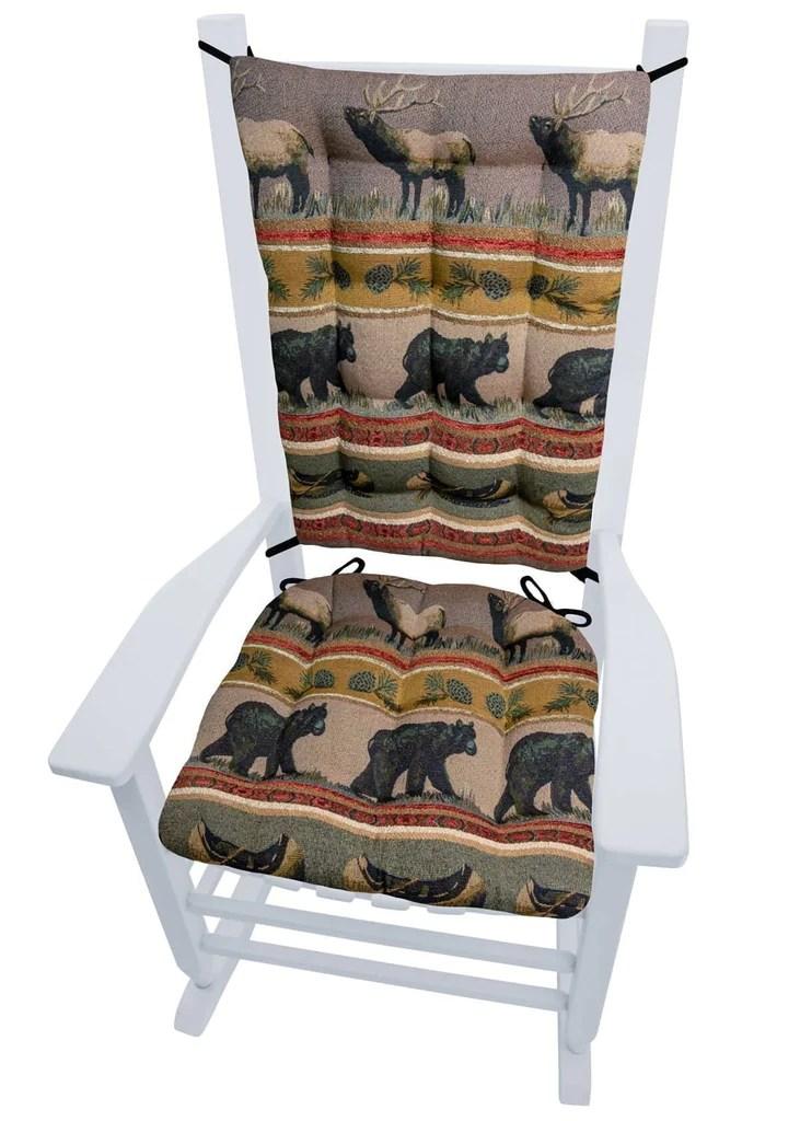 rocking chair pad set medi lift woodlands northwoods cushion bear barnett home