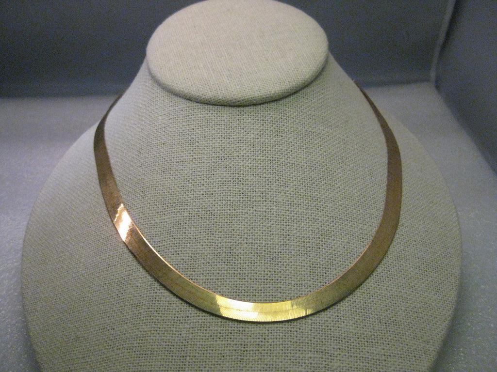 10kt Yellow Gold Herringbone 6mm wide Necklace 24 1513