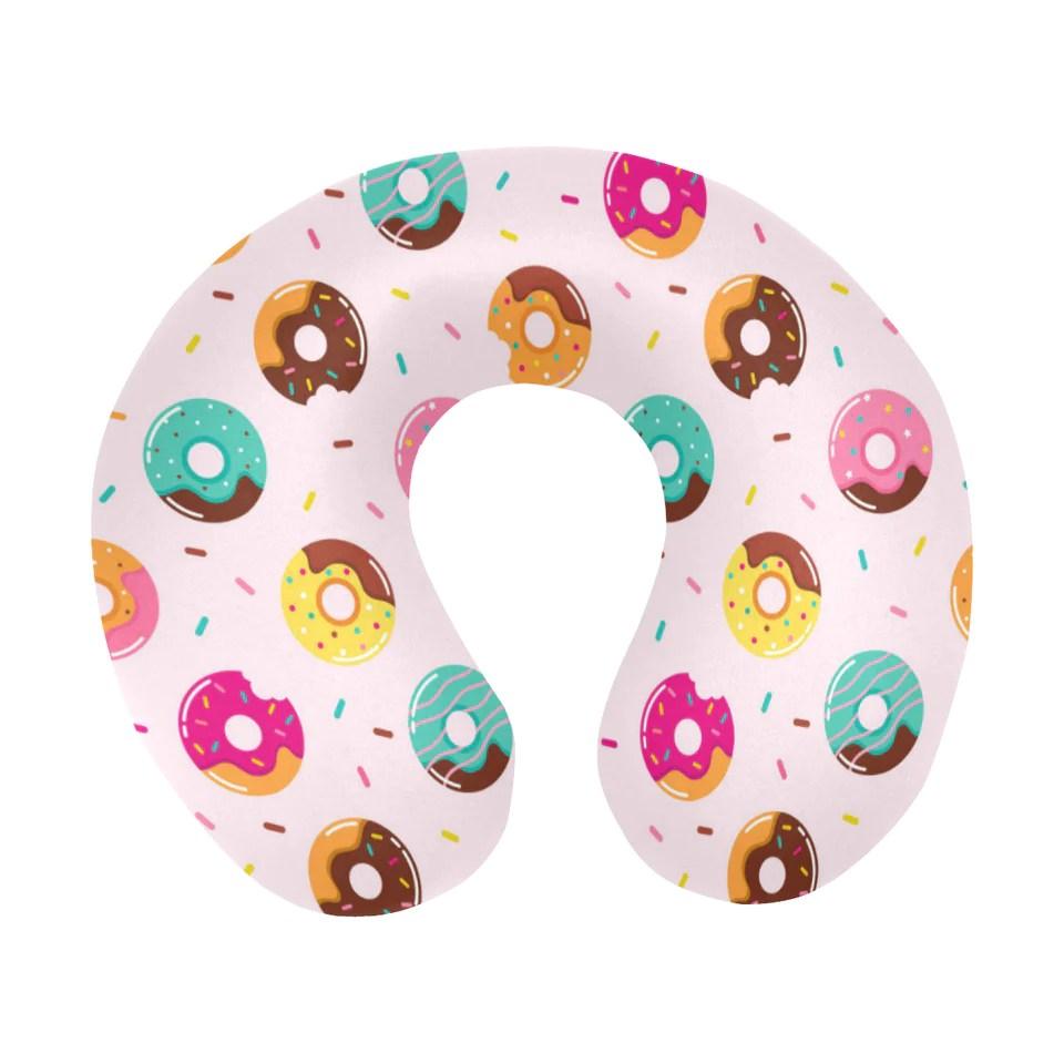 donut pattern glaze pink background u
