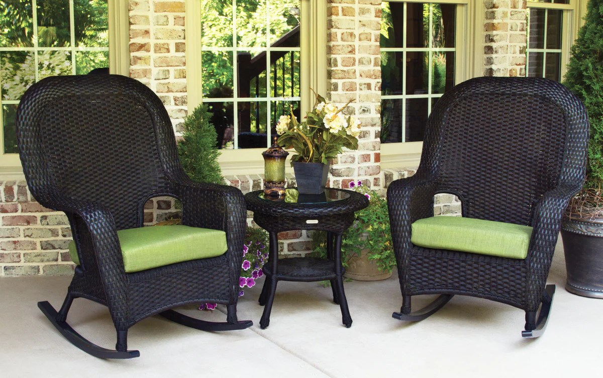 Black Wicker Rocking Chairs The Sea Pines All Weather Wicker Rocking Chair Set Tortuga Outdoor