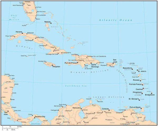 Single Color Caribbean Sea Map with Countries Major Cities  Map Resources
