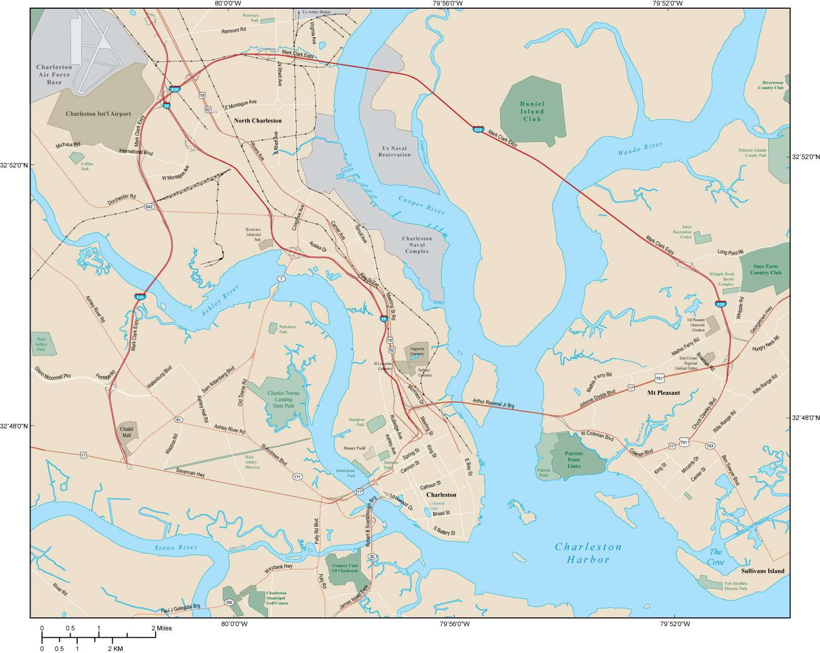 Charleston Map Adobe Illustrator vector format
