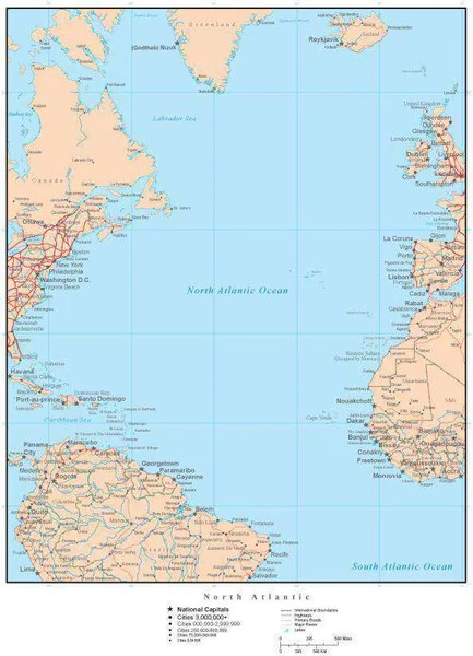 North Atlantic Map with Countries Islands and Cities