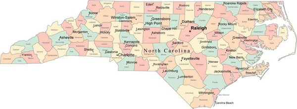 Multi Color North Carolina Map with Counties Capitals