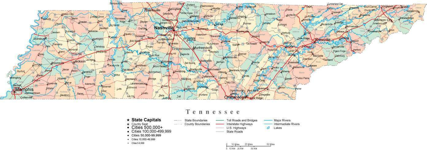 Tennessee Digital Vector Map with Counties Major Cities Roads Rivers Lakes