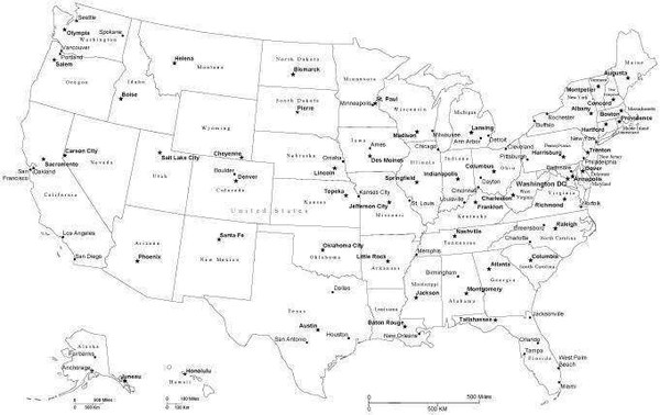 Black White USA map Adobe Illustrator vector File Cut