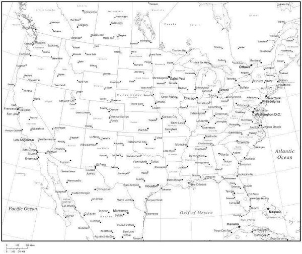 Black amp White United States Map with States Provinces