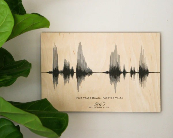 5th Anniversary Wood Gift For Him For Her Sound Wave