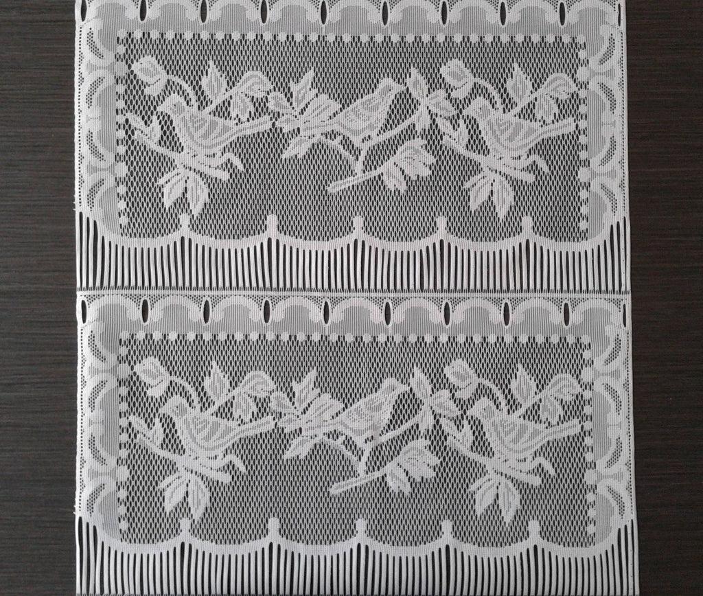 rideau brise bise blanc 45 cm de largeur motif petits oiseaux modulable en hauteur