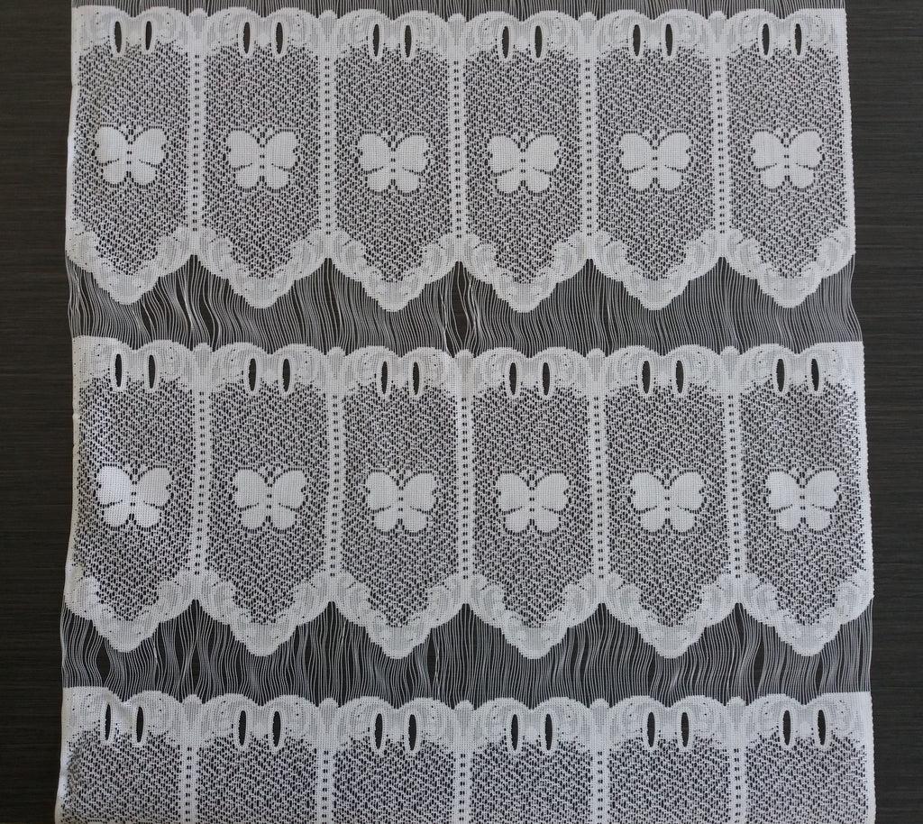 rideau brise bise blanc 45 cm de largeur motif petits papillons modulable en hauteur