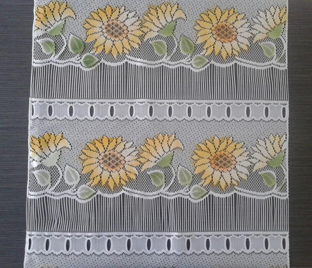 rideau brise bise colore 45 cm de largeur motif tournesol modulable en hauteur