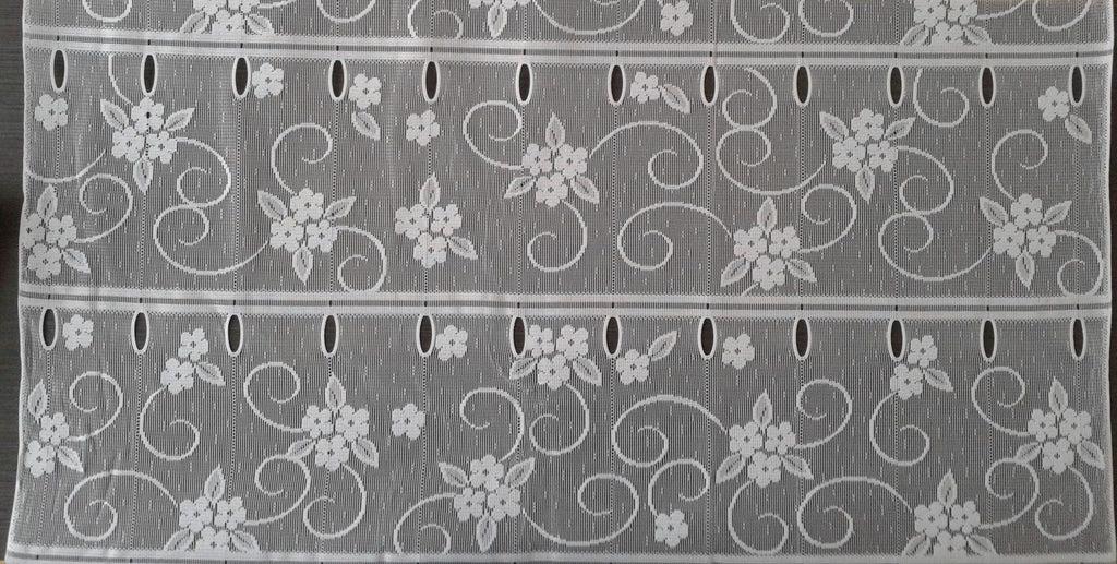 rideau voilage blanc 90 cm de largeur motif fleuri modulable en hauteur