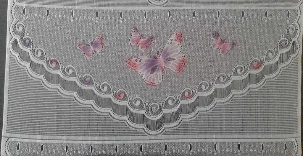rideau voilage colore 90 cm de largeur motif butterfly modulable en hauteur