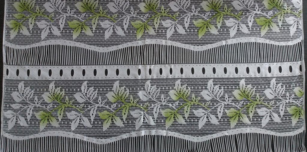 rideau voilage colore 90 cm de largeur motif feuillage modulable en hauteur