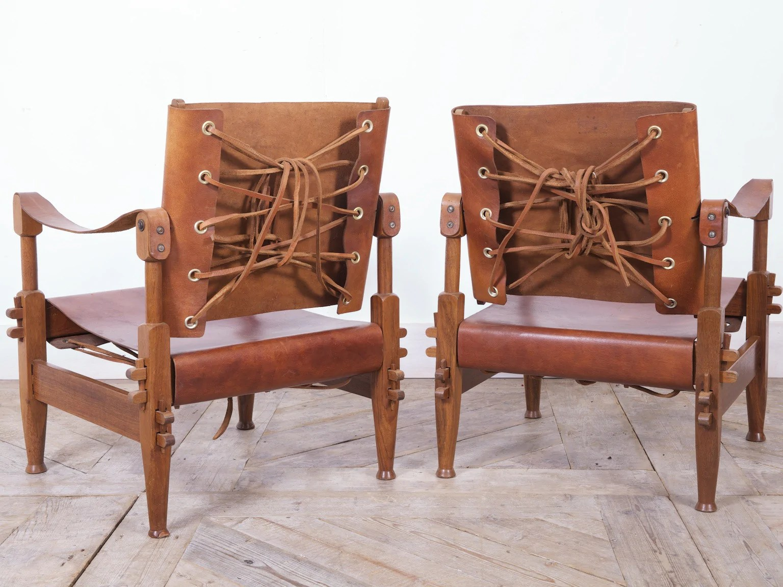 Safari Chairs Walnut Leather Safari Chairs Drew Pritchard Ltd