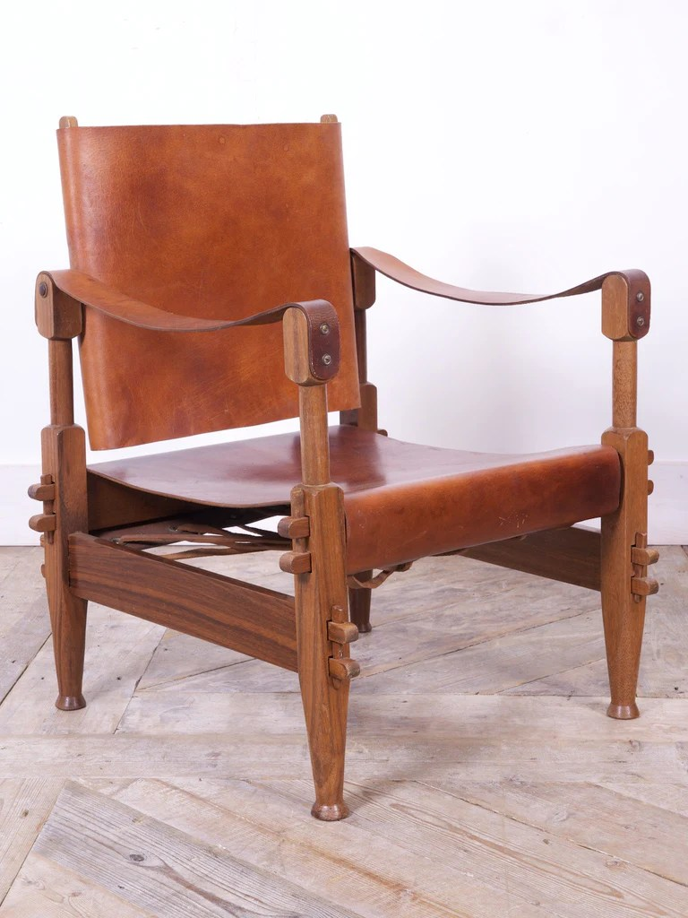 Safari Chairs Walnut Leather Safari Chairs