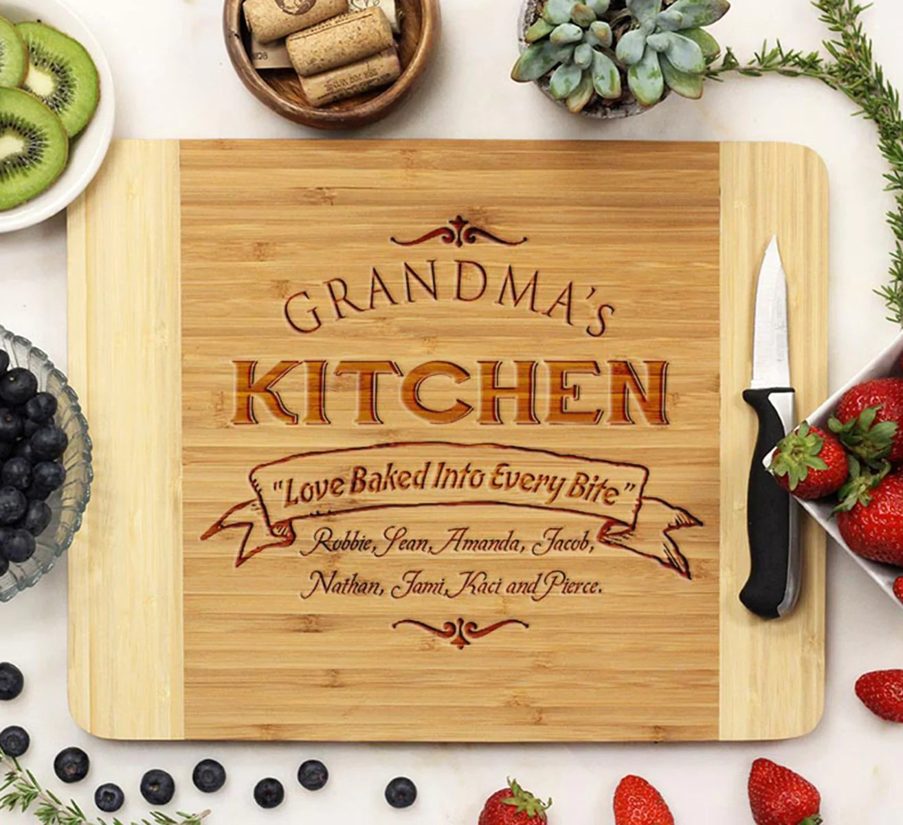 kitchen cutting board industrial cabinets custom grandma s stamp out