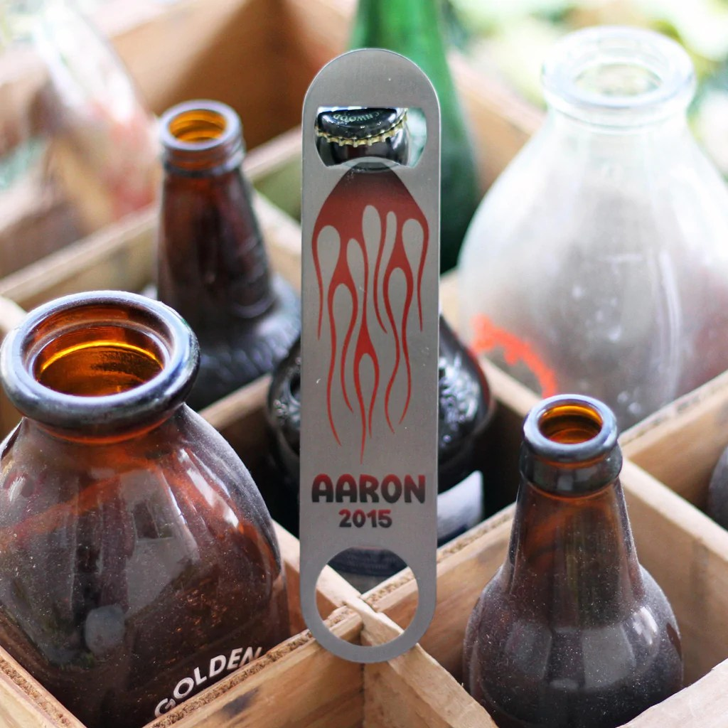 personalized bottle opener flames