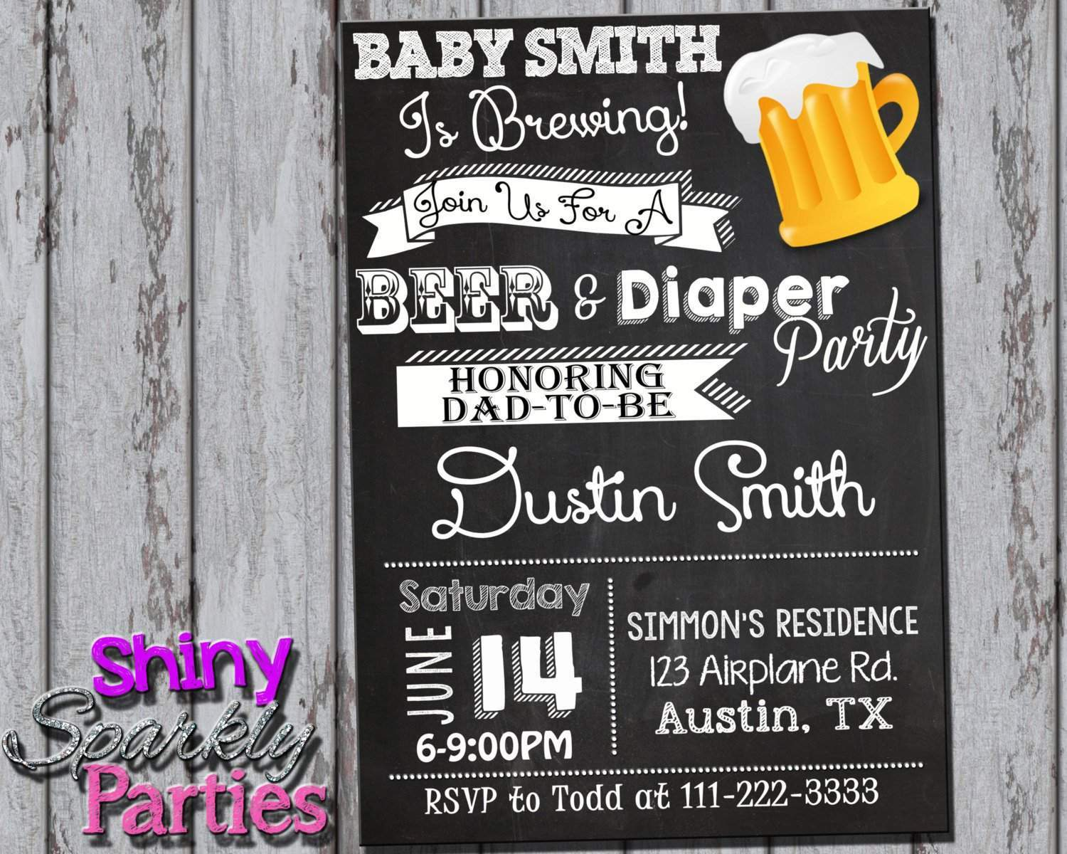 Printable Beer And Diaper Party Invitation - Coed Baby Shower Invitation  (Digital File Only) ...