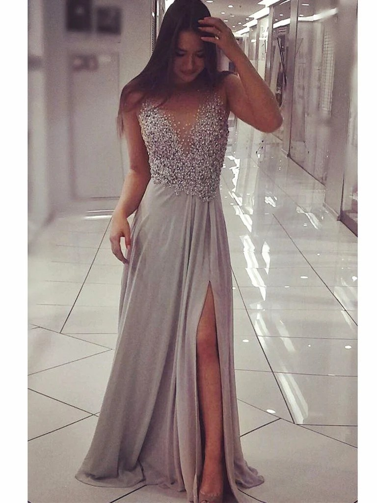 Silver Grey Floor Length Prom Dress with Slit Silver Grey Formal Dres  jbydress