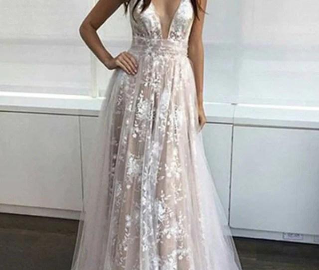 Custom Made A Line V Neck Lace Prom Dresses V Neck Lace Formal Dresses