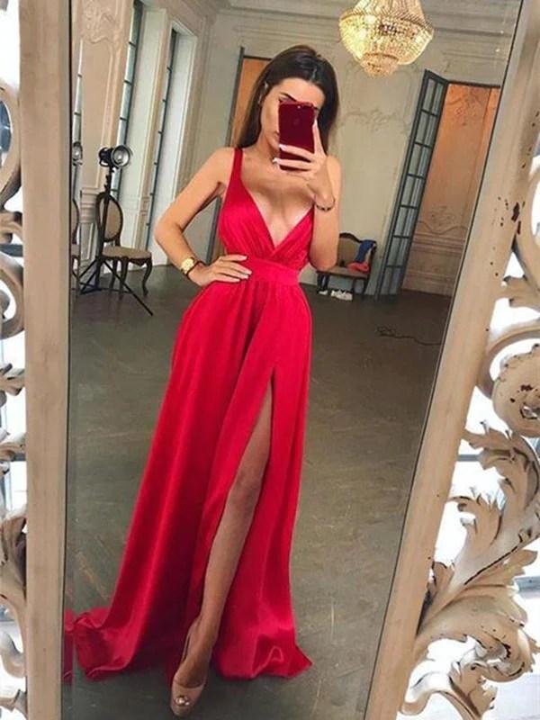 Long A Line V Neck Red Prom Dress with Slit V Neck Red