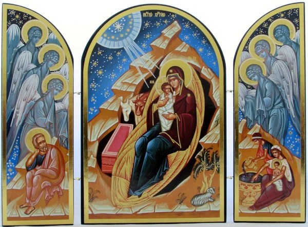 Traditional Triptych Icon Of Jesus Nativity Authentic