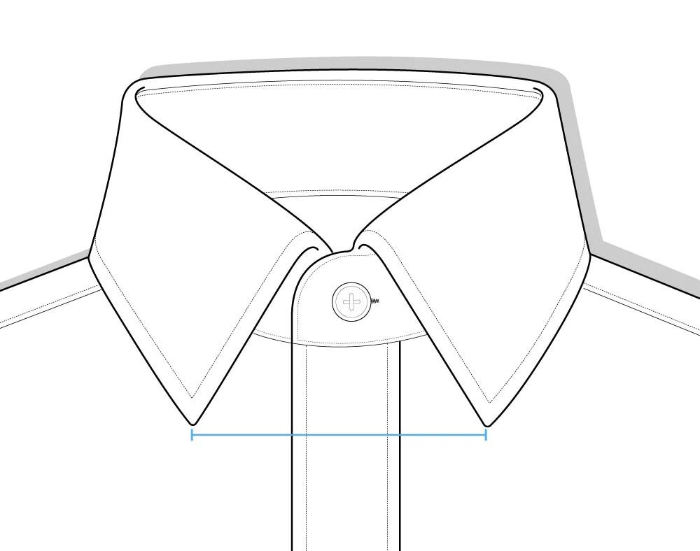 collar spread shirt diagram [ 1000 x 788 Pixel ]