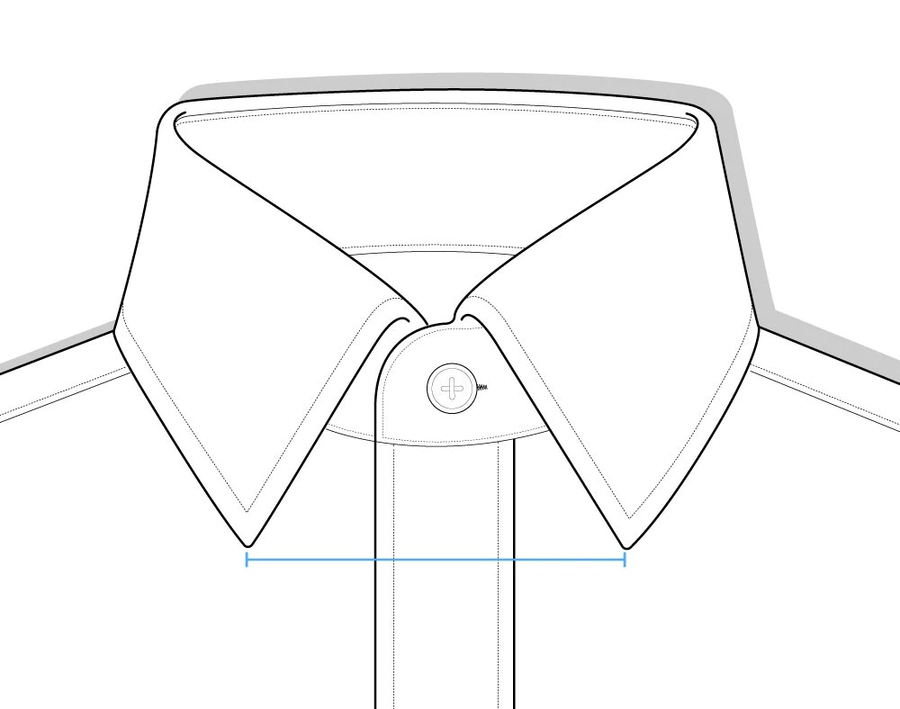 hight resolution of collar spread shirt diagram