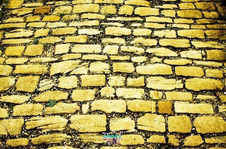 yellow brick pavers