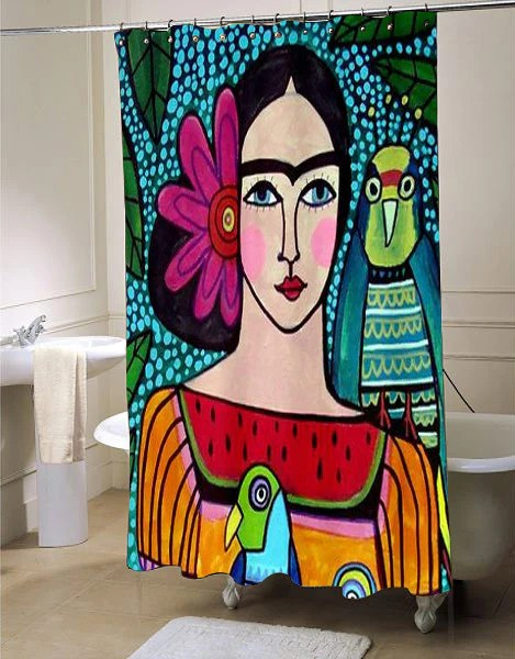 Frida Kahlo shower curtain customized design for home