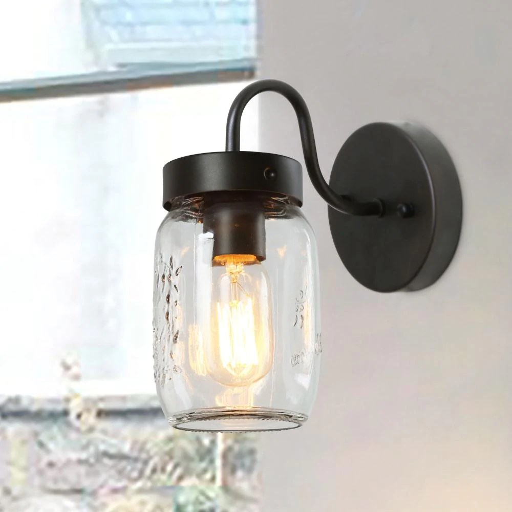 Mason Jar Bathroom Light 1 Light Wall Sconce Mason Jar Vanity Lights Lnc Home