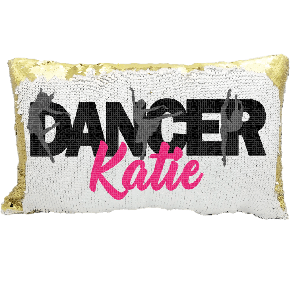 handmade personalized dancer rectangle reversible sequin pillow case