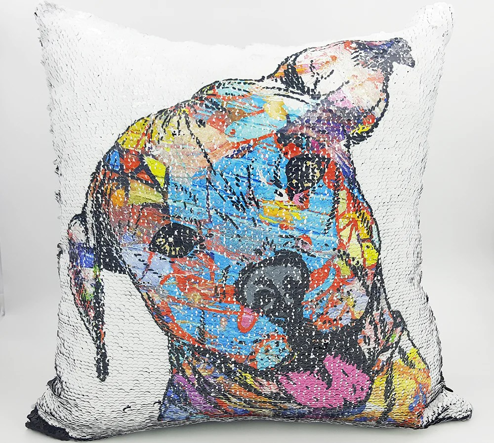 handmade reversible sequin pillow case with pit bull mosaic design