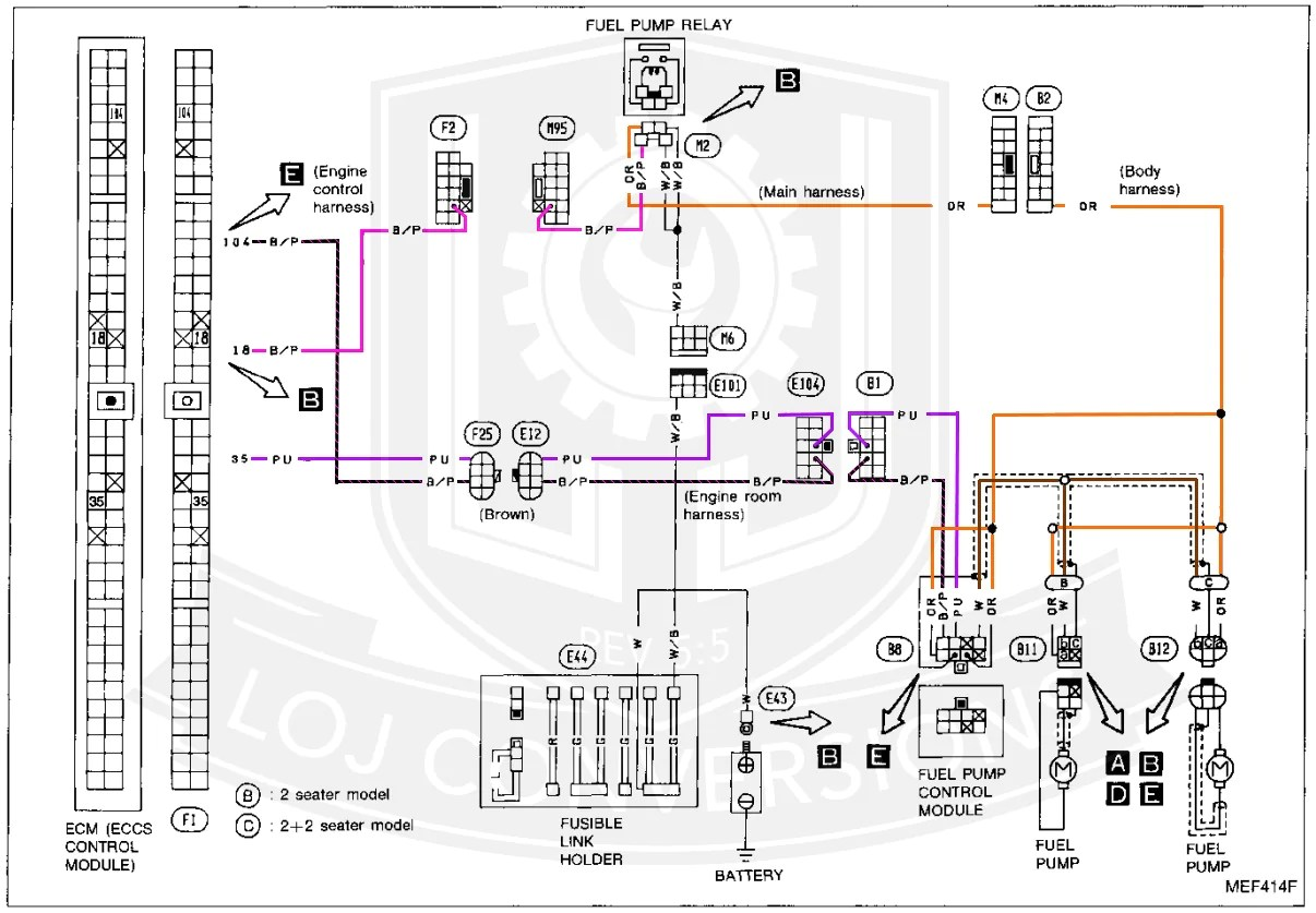 so you can see here that the fuel pump relay has four wires going to it two white black wires one orange wire and one black pink wire  [ 1206 x 837 Pixel ]