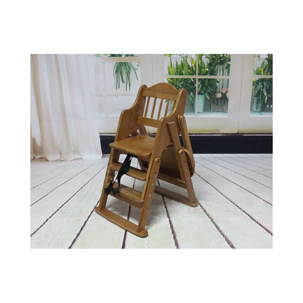 Wooden Baby High Chair Folding Wooden Baby Highchair High Chair Reclining Booster Seat Recliner Foldable
