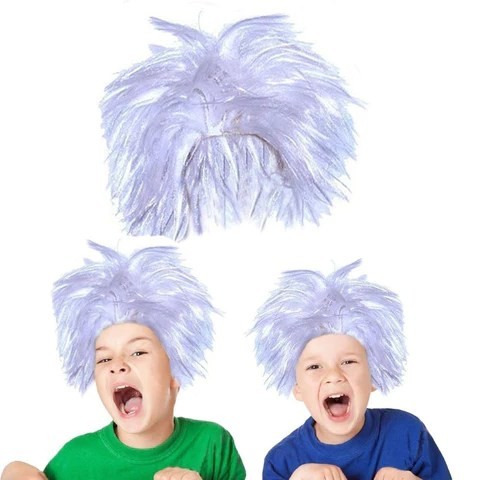 toy cubby realistic soft costume cosplay mad scientist white hair wig chickadee solutions