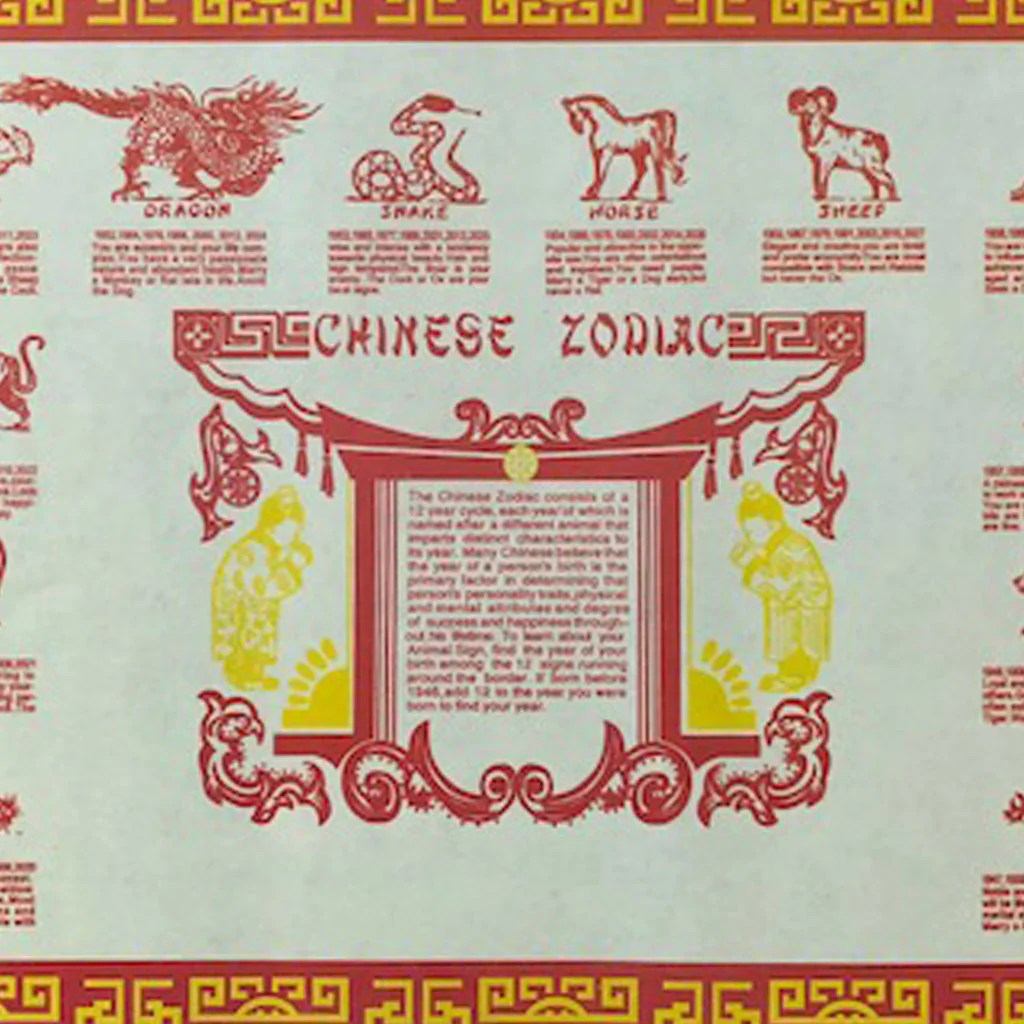 image relating to Printable Chinese Zodiac Placemat referred to as Chinese Clean Calendar year Zodiac Printable - Calendar year of Contemporary Drinking water