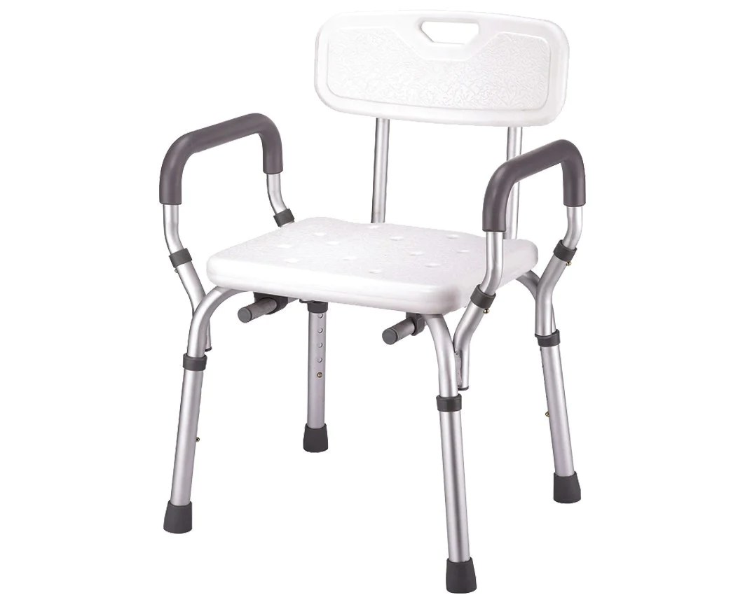 shower chair with arms and backrest wheel accessories padded bath bench removable